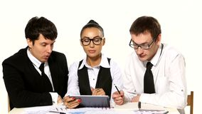 Team of businessmen funny talks. white background stock video footage