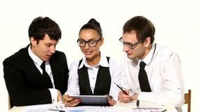 Team of businessmen are funny talks on white stock video