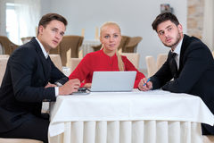 Team of businessmen are working on the project Stock Images