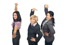 Team of businesswomen stretching hands Stock Images