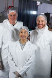 Team of butcher standing in meat factory Royalty Free Stock Photography