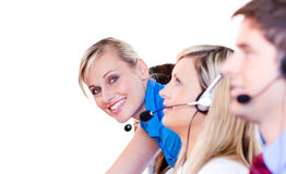 Team in a call center. With focus on manager Royalty Free Stock Photo