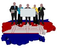 Team on Cambodia map flag Royalty Free Stock Images