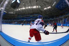 Team Canada in action against Team Czech Republic during Men`s ice hockey preliminary round game at 2018 Winter Olympic Games. GANGNEUNG, SOUTH KOREA - FEBRUARY Stock Images