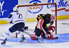 IIHF Women's Ice Hockey World Championship. Team Canada's goaltender Shannon Szabados makes the crucial game winning shootout save against Team USA during action Royalty Free Stock Photography