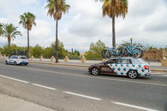 Team car in action at La Vuelta Stock Photography