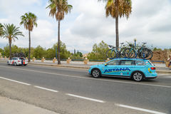 Team car in action at La Vuelta Royalty Free Stock Images