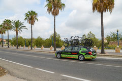 Team car in action at La Vuelta Royalty Free Stock Photos