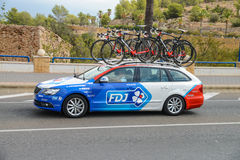 Team car in action at La Vuelta Stock Image