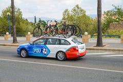Team car in action at La Vuelta Stock Photos