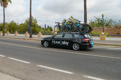 Team car in action at La Vuelta Stock Photo