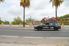 Team car in action at La Vuelta Royalty Free Stock Photography