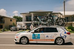 Lead car, Tour Down Under, Port Willunga section royalty free stock photography
