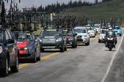 The team cars caravan Stock Photo