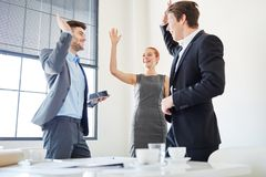 Team celebration with High Five. As motivation for success Stock Photos