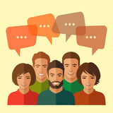 Team, chat dialog. Smile people group, business team, chat dialog Stock Photo
