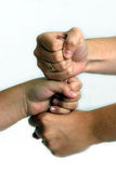 Team cheer. 3 fist's hammering together Royalty Free Stock Photo