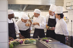 Team of chef tasting food in the commercial kitchen Stock Images