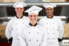 Team of chefs. A happy team of diverse chefs in uniform in restaurant kitchen Royalty Free Stock Photography