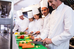 Team of chefs chopping vegetables. On the chopping board in the kitchen Stock Photos