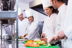 Team of chefs chopping vegetables. On the chopping board in the kitchen Royalty Free Stock Image
