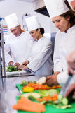 Team of chefs chopping vegetables Stock Images
