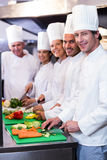 Team of chefs chopping vegetables. Team of chefs smiling at camera while chopping vegetables on the chopping board in the kitchen Stock Image