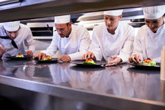 Team of chefs garnishing dishes Stock Images