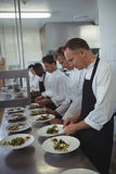 Team of chefs garnishing meal on counter. In commercial kitchen Royalty Free Stock Photos