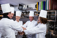 Team of chefs putting hands together and cheering. In a commercial kitchen Royalty Free Stock Image