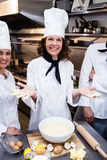 Team of chefs smiling in commercial kitchen. Portrait of happy chefs team standing together in commercial kitchen Royalty Free Stock Image