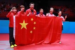 Team China-winnaar van de wereldkampioenschappen stock afbeeldingen