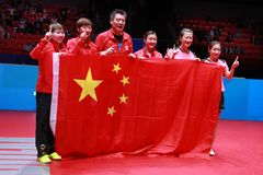 Team China-winnaar van de wereldkampioenschappen stock foto