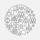 Team circular linear illustration Stock Image