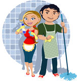 Team Cleaning. Man and woman sharing housework Royalty Free Stock Photography