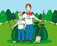 Team cleaning. Illustration that shows father and son proud of their work cleaning in a wide green area. Plants in the background humanize smile as a sign of Royalty Free Stock Photos