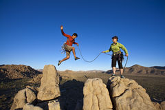 Team of climbers on the summit. stock photos