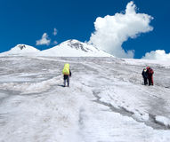 Team at the climbing in Caucasus mountains Stock Images