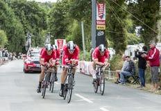 Team Cofidis, crediti delle soluzioni - Team Time Trial 2015 Fotografie Stock