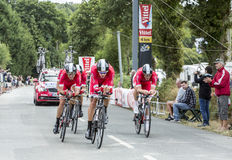 Team Cofidis, solutions credits - Team Time Trial 2015. Plumelec, France - 13 July, 2015: Team Cofidis, solutions credits riding the Team Time Trial stage stock photos