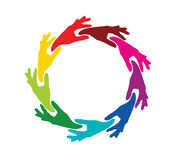 Team colored hands in a circle Royalty Free Stock Images