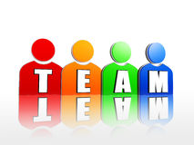 Team in colorful person signs Stock Image