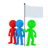 Team of coloured people holding flag. Isolated. Contains clipping path Royalty Free Stock Photo
