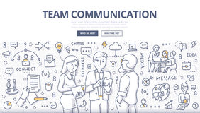 Team Communication Doodle Concept. Doodle illustration of team members discussing business project. Concept of team communication, collaboration & teamwork for royalty free illustration