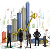 Team of company. Team analyzes graphics and profits of company Stock Image