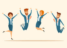 Team of company celebrating a victory. Business success.Happy people are smiling .Vector illustration Stock Photos