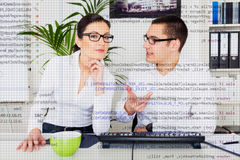 Team Of Computer Programmers Analyzing Code Royalty Free Stock Photos