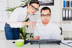 Team Of Computer Programmers Analyzing Code Stock Photos