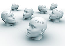 Team concept. Human heads with conceptual words - 3d render illustration Stock Photography