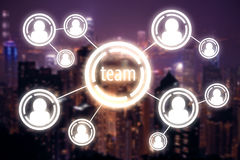 Team concept. Connected digital people icons on night city background. Team concept. 3D Rendering Royalty Free Stock Image
